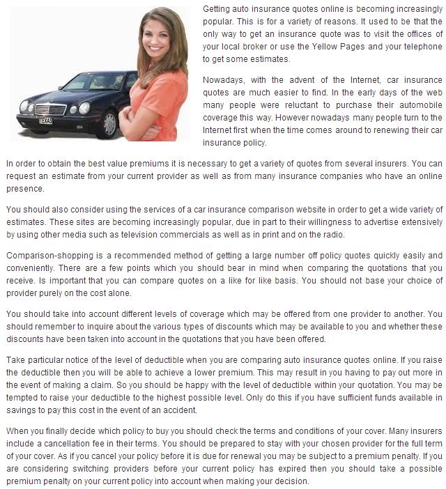 Online Auto Insurance Quotes: Auto Insurance Quotes Online